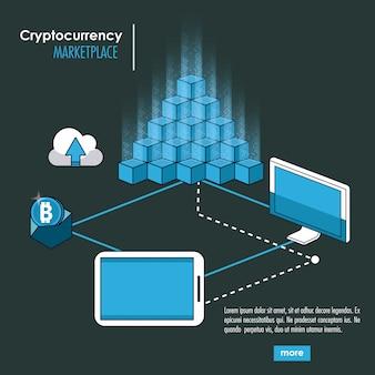Sistema di criptovaluta e banner di mercato Vettore Premium