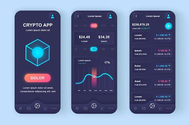 Criptovaluta che scambia app mobile moderna con interfaccia utente di design neumorfico