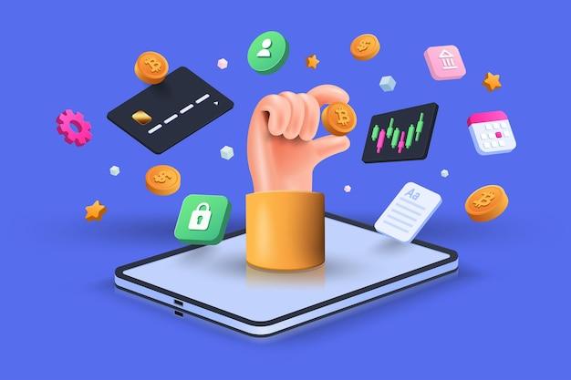 Transazione di criptovaluta e infografica mobile banking. inviare soldi. portafoglio digitale bitcoin. concetto di pagamento elettronico 3d. illustrazione isometrica di vettore di trasferimento di denaro internazionale