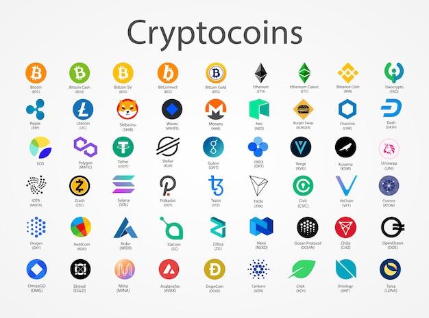 Icone di monete di vettore di criptovaluta isolate su priorità bassa bianca.