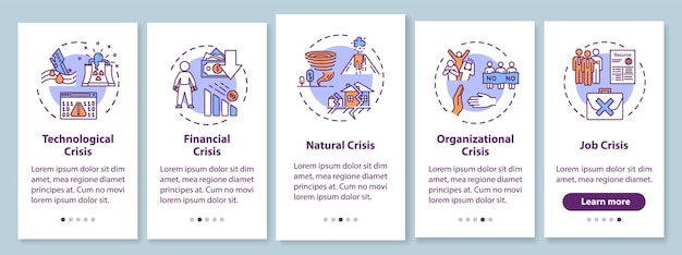 Schermata della pagina dell'app mobile onboarding dei tipi crysis con i concetti. disastri globali, situazioni di emergenza con istruzioni grafiche in cinque passaggi. modello vettoriale dell'interfaccia utente con illustrazioni a colori rgb