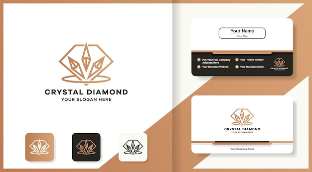 Logo e biglietto da visita con decorazione a diamante in cristallo
