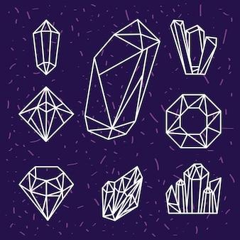 Icone di lusso di cristallo otto gemme
