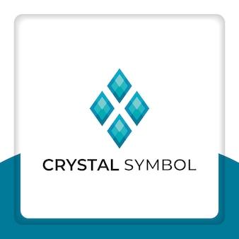 Cristallo smeraldo logo design simbolo vettore per negozio online di gioielli