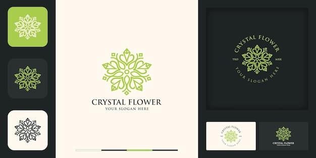 Logo vintage moderno fiore di cristallo e design del biglietto da visita