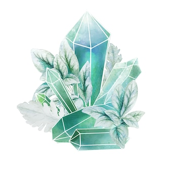 Gemme di cristallo con foglie blu, arte decorativa a colori, composizione carina, illustrazione dell'acquerello disegnato a mano