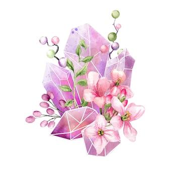 Gemme di cristallo con fiori, arte decorativa a colori, composizione carina, illustrazione dell'acquerello disegnato a mano