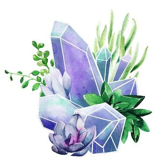 Gemme di cristallo con piante grasse, arte decorativa a colori, composizione carina, illustrazione dell'acquerello disegnato a mano