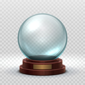 Sfera vuota in cristallo. sfera magica della neve di festa di natale isolata.