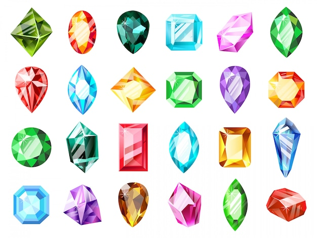 Gemme gioiello di cristallo. gemma di cristallo del diamante, pietra preziosa del gioco dei gioielli, insieme dell'illustrazione di simboli delle gemme brillanti di lusso preziose. gioielli in pietre dure, zaffiri e tesori, accessori minerali