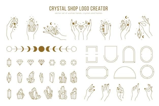 Creatore di logo del negozio di cristallo con diverse mani di donna, cornici, pietre preziose e mani femminili che tengono cristalli. stile lineare minimal alla moda
