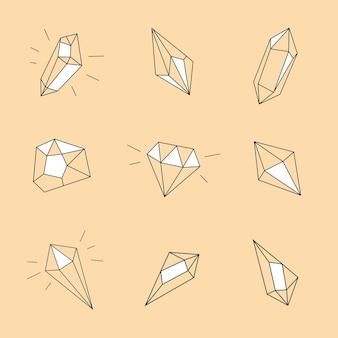 Collezione di cristalli in stile lineare doodle