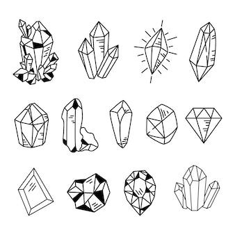 Bundle di clipart di cristalli o pietre preziose doodle gemma collezione gioielli pietre o diamanti set vettoriale