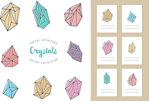 Cristalli - elementi moderni, bohémien e hipster disegnati a mano