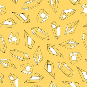 Cristalli modello senza cuciture disegnato a mano su sfondo giallo