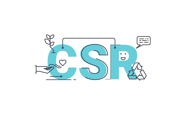 Csr: illustrazione di progettazione di tipografia lettering lettering responsabilità sociale aziendale