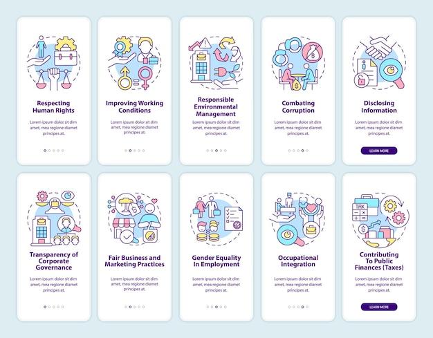 Set di schermate della pagina dell'app mobile di onboarding correlata alla csr. procedura dettagliata sui diritti sul posto di lavoro 5 passaggi istruzioni grafiche con concetti. modello vettoriale ui, ux, gui con illustrazioni a colori lineari