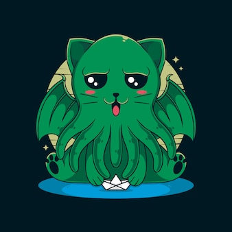 Illustrazione del gatto di cthulhu
