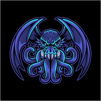 Logo della mascotte di cthulhu esport