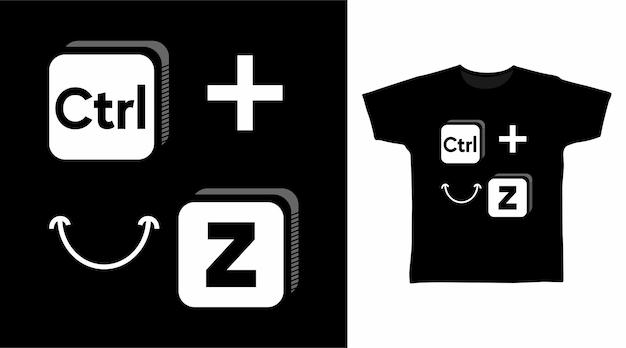 Ctrl z smile simbolo tipografia t shirt design