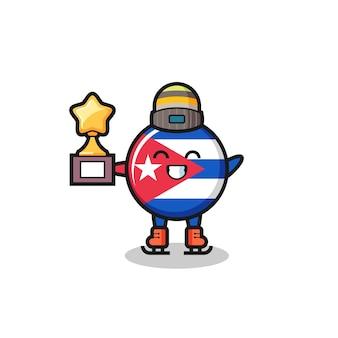 Il fumetto del distintivo della bandiera di cuba come un giocatore di pattinaggio sul ghiaccio tiene il trofeo del vincitore, un design carino in stile per t-shirt, adesivo, elemento logo