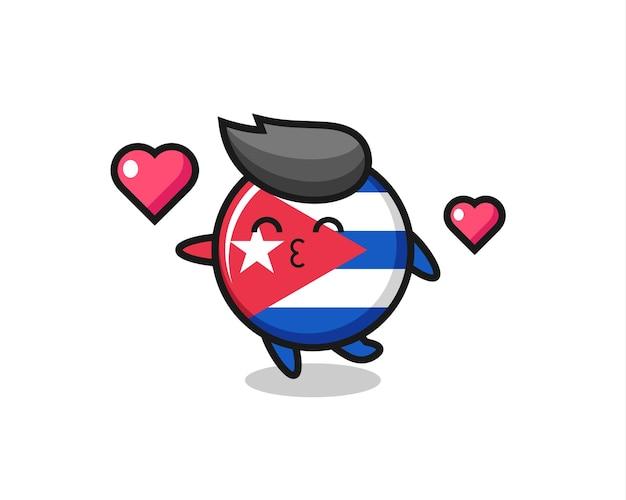 Fumetto del personaggio del distintivo della bandiera di cuba con gesto di bacio, design in stile carino per maglietta, adesivo, elemento logo