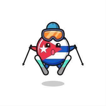 Carattere della mascotte del distintivo della bandiera di cuba come giocatore di sci, design in stile carino per maglietta, adesivo, elemento logo