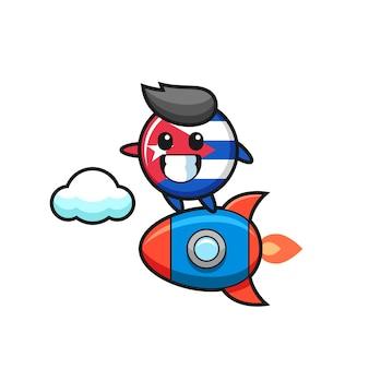 Carattere della mascotte del distintivo della bandiera di cuba che cavalca un razzo, design in stile carino per maglietta, adesivo, elemento logo