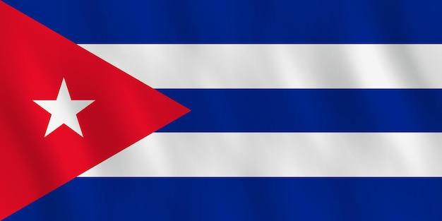 Bandiera di cuba con effetto ondeggiante, proporzione ufficiale.