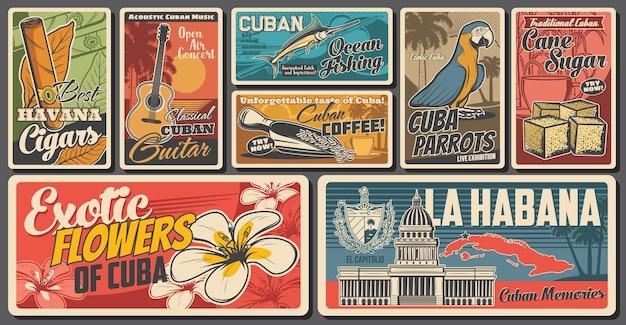 Striscioni retrò di viaggio cubano