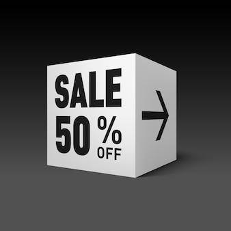 Modello di banner cubo per evento di vendita festiva sconto del cinquanta per cento