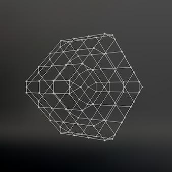 Cubo di linee e punti. cubo delle linee collegate ai punti. reticolo molecolare. la griglia strutturale dei poligoni. sfondo nero. la struttura si trova su uno sfondo di studio nero.