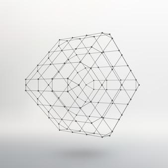 Cubo di linee e punti. cubo delle linee collegate ai punti. reticolo molecolare. la griglia strutturale dei poligoni. sfondo bianco. la struttura si trova su uno sfondo bianco da studio.