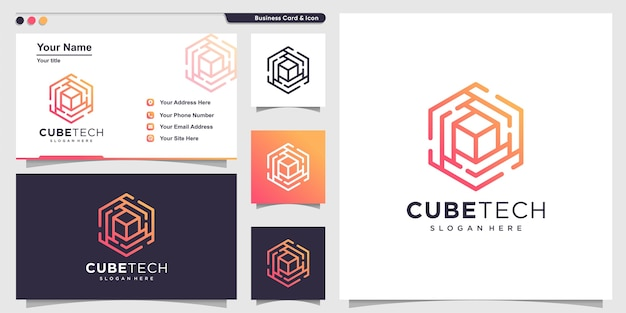 Logo cubo con stile tecnologico al tratto e design di biglietti da visita