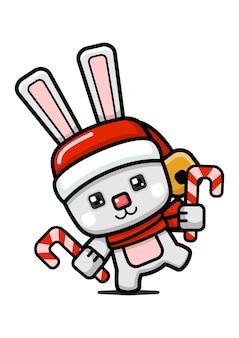 Coniglietto di natale carino in stile cubo che tiene un bastoncino di zucchero