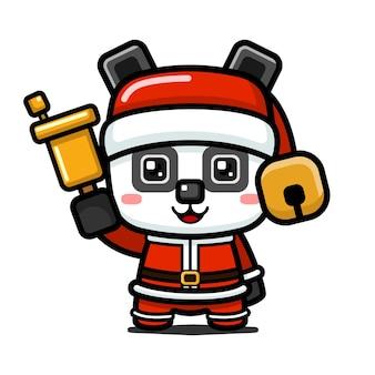 Campana della holding del panda di natale carino stile cubo