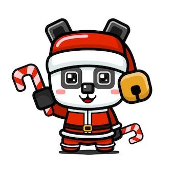 Panda di natale carino stile cubo che tiene un bastoncino di zucchero