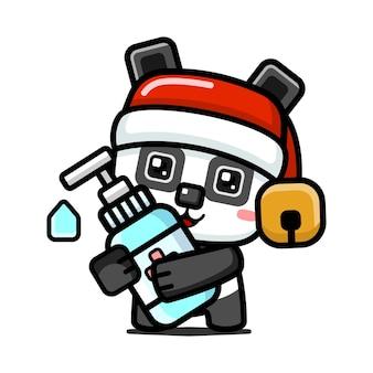 Cubo stile carino panda di natale che tiene la mano disinfettante