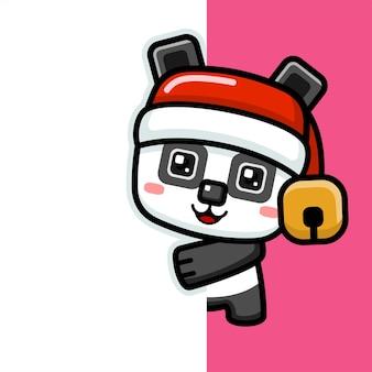Panda di natale carino stile cubo che sbircia dietro il muro