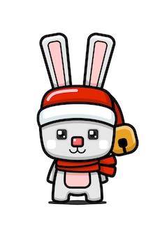 Simpatico personaggio di coniglio di natale in stile cubo