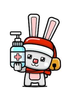Coniglio di natale carino stile cubo che tiene disinfettante per le mani