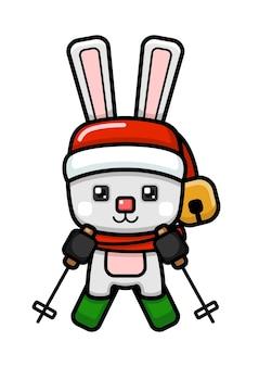 Cubo stile carino coniglio di natale sugli sci