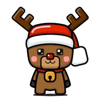 Simpatico personaggio di renna natalizia in stile cubo