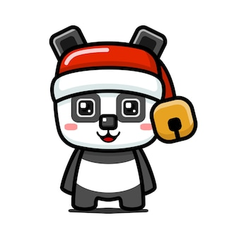 Panda carino stile cubo con cappello di babbo natale