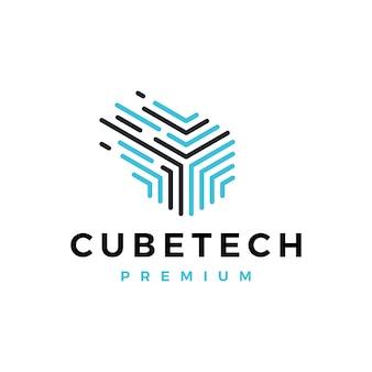 Illustrazione dell'icona di vettore del logo astratto digitale del trattino di tecnologia del cubo