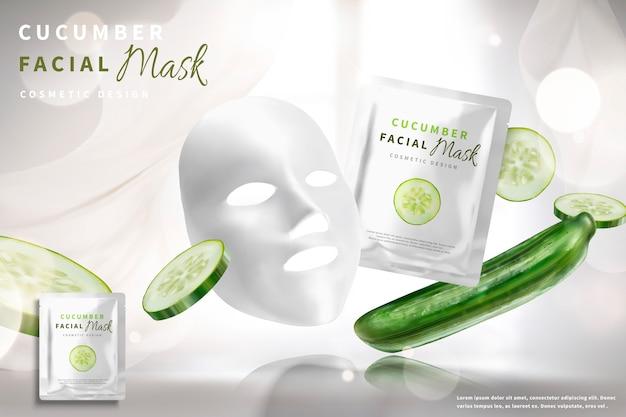 Annunci di maschera facciale cetriolo con ingredienti su sfondo bianco bokeh