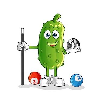 Il cetriolo gioca il personaggio del biliardo. mascotte dei cartoni animati