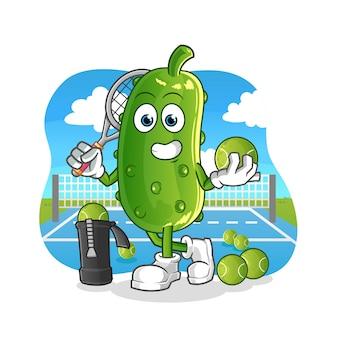 Il cetriolo gioca a tennis illustrazione. carattere