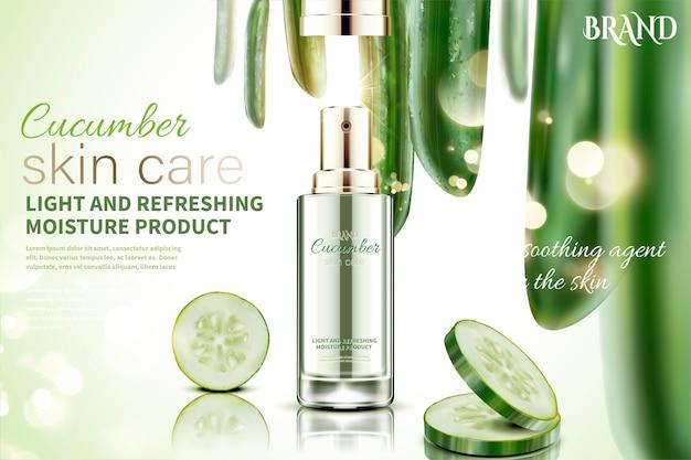 Cetriolo spray per la cura della pelle con ingredienti, sfondo scintillante