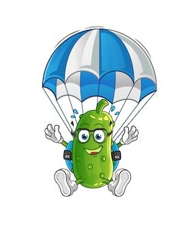 Carattere di paracadutismo di cetriolo. mascotte dei cartoni animati